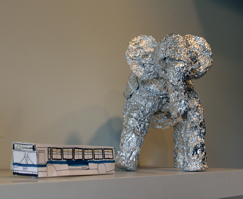 From animals to man-made machines: the adult artists of the League's L.A.N.D. art gallery shape creations out of aluminum foil and construction paper.