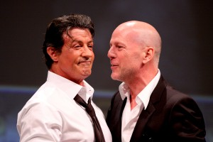 Willis (r.) and Stallone also headlined The Expendables panel at San Diego Comic Con in 2010.  Credit: Wikipedia